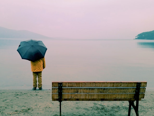 En person med paraply